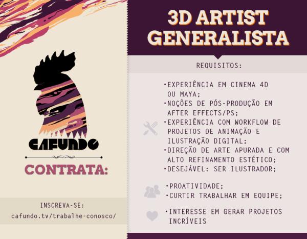 Cafundó contrata: 3D artist generalista
